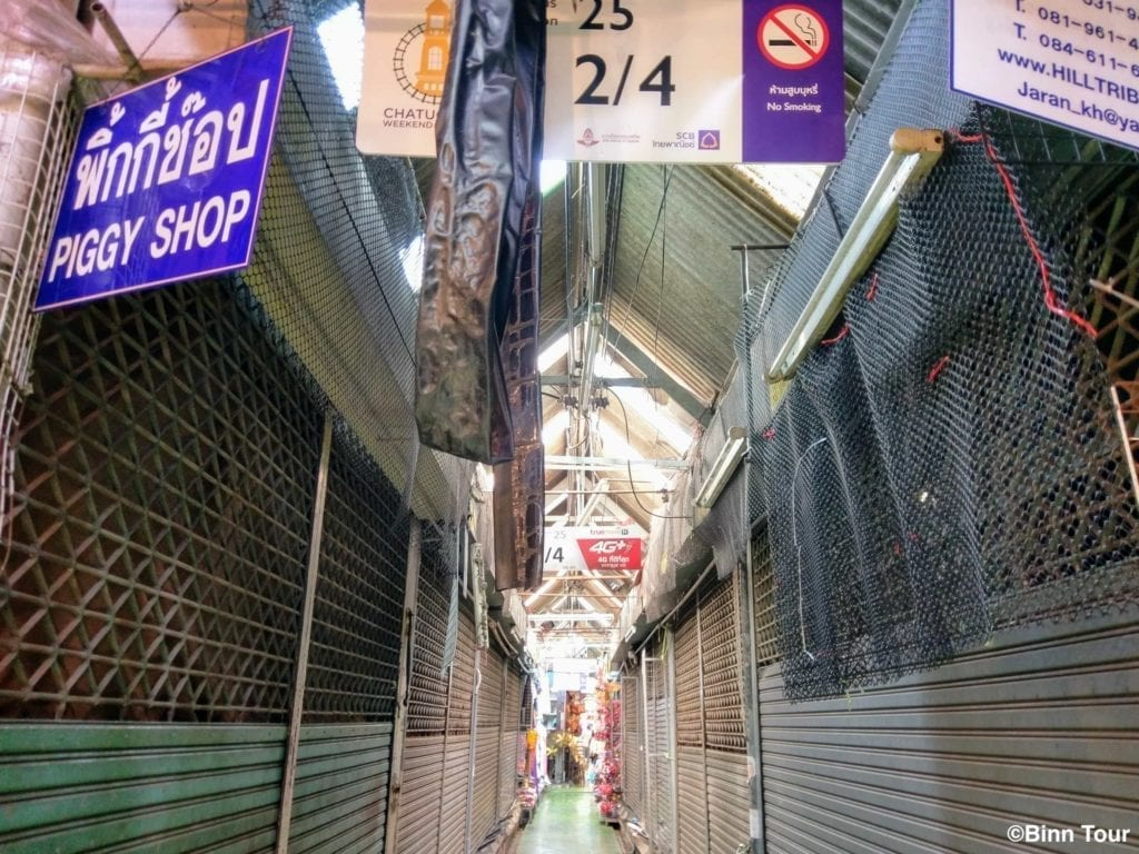 empty alley in Chatuchak during Songkran holidays
