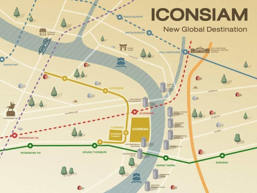 Map showing the strategic location of ICONSIAM in Bangkok