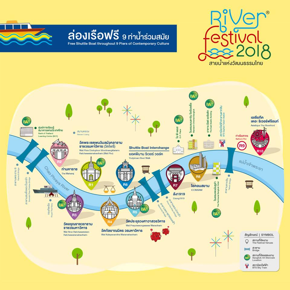 A map of venues by the Chao Phraya River holding Loy Kratong events